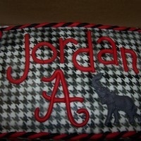 Alabama Roll Tide Birthday Cake Alabama Roll TIde Birthday cake with houndstooth stencil work and fondant decor.