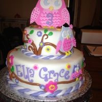 Ella Grace's Owl Cake 2 tiered, fondant covered owl cake