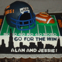 Chicago Themed Grooms Cake  This was my first groom's cake that I made for my best friend's fiance. The Bears Helmet is cake. It was a Chicago-sports themed...