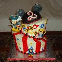 My 1St Topsy Turvy Mickey Mouse  Hooray! I finally made a topsy turvy cake!! My best friend let me try it out for her son's 2nd birthday party because she loves and...