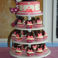 Minnie Mouse Cake And Cupcake Tower  This is my repeat Minnie Mouse Cupcake Tower for little Angelina's 1st birthday. The cake was a Vanilla WASC cake with a chocolate...