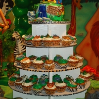 Safari/jungle Themed Cake And Cupcake Tower  This was a semi-repeat of my jungle cakeI made for my son last year. Everything is edible except for elephant's water spout and tree...