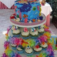 Beach Luau Under The Sea Surfing Cake And Cupcake Tower  I made this for my neighbor's daughter turning 6. She had a surfing beach party, but my neighbor said she really wanted an under the...