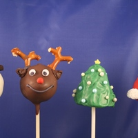 Christmas Pops  Inspired by Bakerella, a collection of Cake Pops for Christmas. Chocolate Reindeer, White Almond Snowmen, Raspberry Christmas Trees and Red...