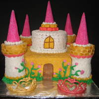 Castle Cake Castle for five year old twin girls - one liked yellow, the other, pink.