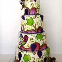 Winery Wedding Cake hand painted wedding cake to match their theme