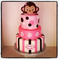 Monkey Baby Shower Cake design taken from a fellow cake central cake. fondant monkey
