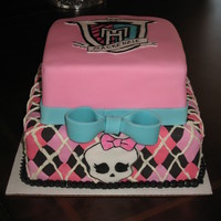 Monster High Cake   Thanks for the ideas on Cake Central!! Hand painted logo and skull.
