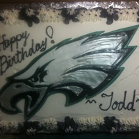 Philadelphia Eagles Birthday Cake Choc/Van cake with Strawberry filling. Buttercream frosting. The Eagle is fondant and I inlaid each color.