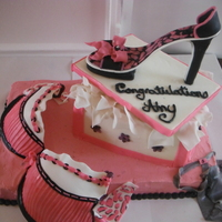 Shoe Box With Shoe, Bra And Underwear shoe and bra are made with gumpaste, cake is buttercream (would not make another cake like this with the bottom as just buttercream|)