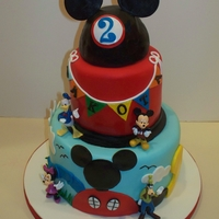 Mickey Mouse Birthday Cake   Marble cake with vanilla icing and fondant. Purchased figures.Inspired by a cake on CC.