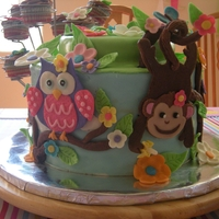 Owl And Monkey In A Tree Every thing edible. Made from Modeling Chocolate. It was so much fun to design and create for Alex and Rhiannons Birthday.