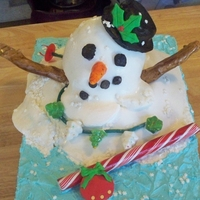 Melting Snowman Chocolate Fudge Cake w/ White Chocolate Buttercream Frosting