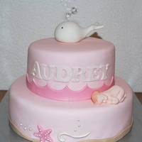 White Whale Christening Cake Customer fell in love with Hello Naomi's whale cake, with the request to make it in pink with a white whale as the topper. Since they...