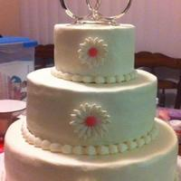 My First Wedding Cake! *Buttercream wedding cake. Fondant/gumpaste daisies.
