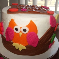 First Birthday Owl Cake With Cupcakes Owl cake and with matching cupcakes. Buttercream with fondant accents.