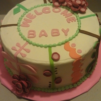 Welcome Baby A non traditional baby shower cake, thanks to cake central members for inspiration!