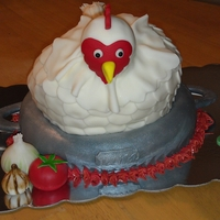 What's Cookin' ? This cake was made for a coworkers 94 yr old father who always is complaining that the chicken is not fresh enough.
