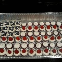 Flag Made From Mini Red Velvet Cupcakes And Fruit