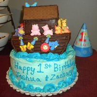 Twin Boys Noah's Ark Theme 1St Birthday Cake