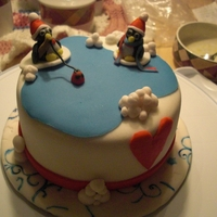 Penguin Fishing Cake for Wilton fondant methods class.