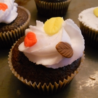 Fall Leaves Eggless chocolate cupcakes for my youth group.