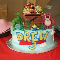 Toy Story Cake Toy Story cake. Logo is hand cut in fondant, the logo I designed based on the Toy Story logo to match my son's name and age. This logo...