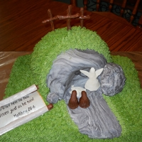Ressurection, Empty Tomb Cake   Buttercream with fondant Edible scroll