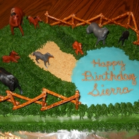 Cake With Horses   Buttercream with pretzel fence