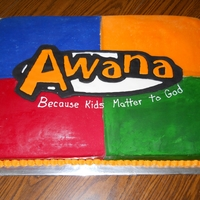 Awana Cake   Covered with molding chocolate with colorflow emblem