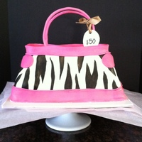 $50 Purse Cake Purse cake with a zebra pattern and pink touches. Coconut cake with coconut buttercream filling. My mother-in-law was turning 50 and that&#...