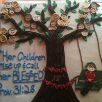 Family Tree  This cake is a buttercream finish with fondant accents. It was for a grandmothers 80th birthday. All the faces are that of her children and...