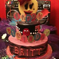 Ms Pacman 80's Themed Birthday Cake This cake was made for an 80's themed birthday party. The client requested bright colors and animal print along with a Ms Pacman on...