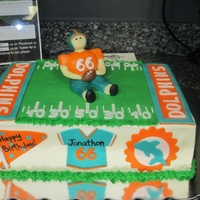 Miami Dolphins Football Cake   buttercream cake with fondant accents