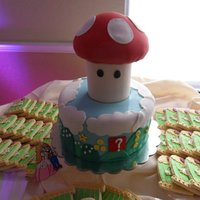 Mario Groom's Cake The base of the mushroom was a styrofoam cylinder and the top was cereal treats. The cookies were bird cages which was part of the theme...