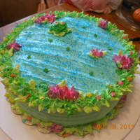 Frog Pond This is a whipped cream cake I made in a pond theme!! Chocolate cake with whipped cream!!