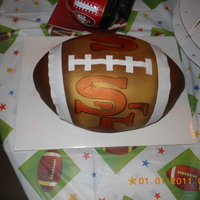 Sf 49Er Football Cake Fondant 3d football cake i made! Frist time trying to make one.