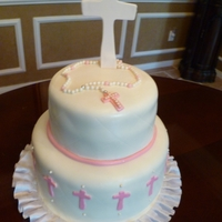 Baptism Cake All MMF. Cross done in gum paste