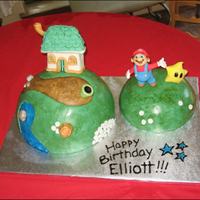 Super Mario Galaxy Cake I made this Super Mario Galaxy cake for a friend's son's birthday. The planet domes are cake, the water is colored piping gel,...