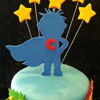 Superhero Connor Client requested a superhero themed cake for her sons first birthday. They wanted something fun and colorful this is what I came up with....