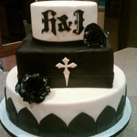Gothic Engagement Cake black & white cake with black roses
