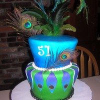 Peacock Themed Birthday Cake  This cake was for my mom's bday. This design changed so much while I was working on it. I went to the craft store looking for peacock...