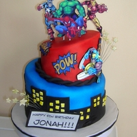 Marvel Comics Cake  Superhero cake! I was very excited to play with my new edible printer, definitely adds something new to cakes, can't wait to use it...