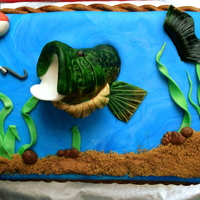 "Bass / Fishing Cake Had a lot of fun with this one! marbled the fondant with dark and light blue then added the brown sugar (""painted"" on a mix of..."