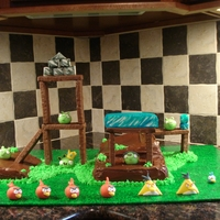 "Angry Birds Cake Cake ""landscape"" with Whatchamacallit candy bars (melted the tops to fuse together). Birds are fondant. TFL :)"