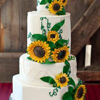 "Sunflower Wedding Cake This is a cake I did for a ""style shoot"" that might be published in a local magazine! Cross your fingers for me!"