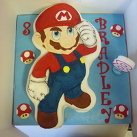 Mario Cake hand painted 2D mario cake. just painted mario on a gumpaste plaque and placed it on to a fondant covered yellow cake i had carved into the...