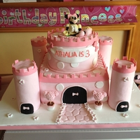 Minnie Mouse Castle My daughter wanted a Minnie Mouse cake for her birthday, I was desperate to do a castle cake so this is the result :) TFL