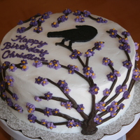 Blooming Tree & Raven Birthday Cake Raven created by Frozen Buttercream Transfer (FBT).