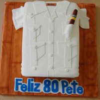 Cuban Guayabera Cake And Cohiba   Guava cake with guava filling and cream cheese icing. nothing much to say... the man is 80!!!tfl
